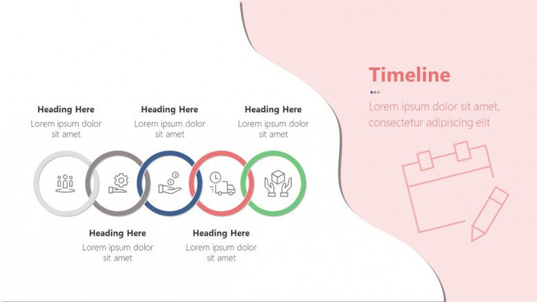Infographic Timeline made of five colorful rings