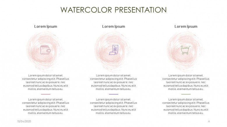 Stylish Three-column slide with watercolor icons