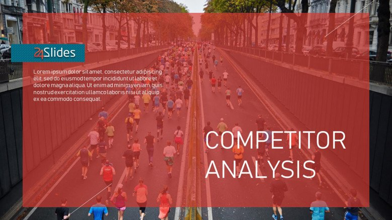 Competitor Analysis Title Slide with people running a marathon as background