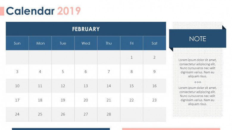 2019 calendar february with description box