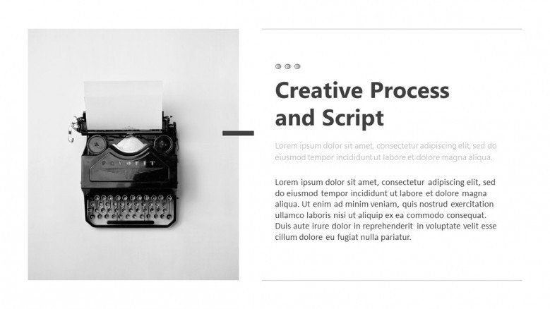 Text slide to showcase the creative Process of making an Storyboard