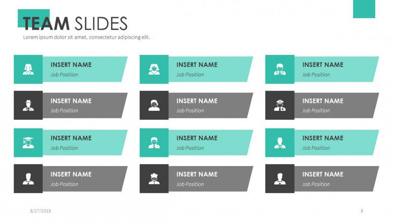 team slide presentation for profile in twelve icons