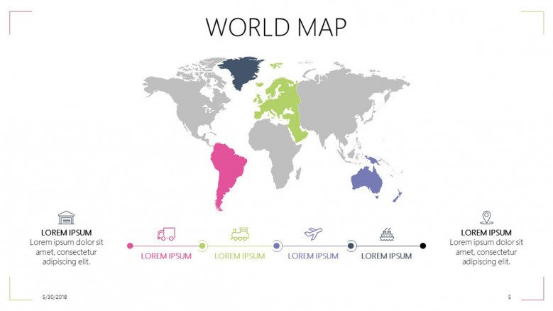world map slide with infographic