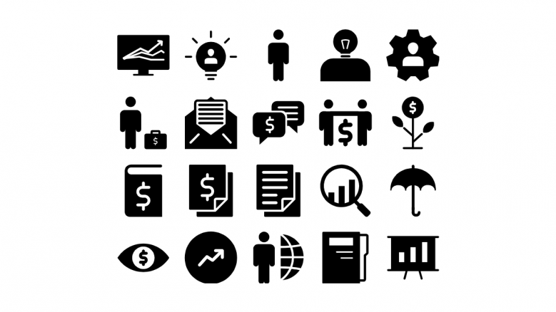 Black and white general icons slide