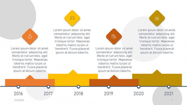 Creative dotted timeline in yellow and orange with icons