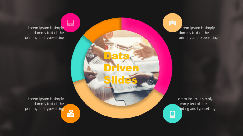 Data Driven slide with black background and 4 sections