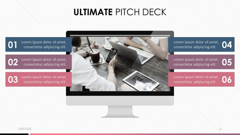 pitch deck in PC display with six key points