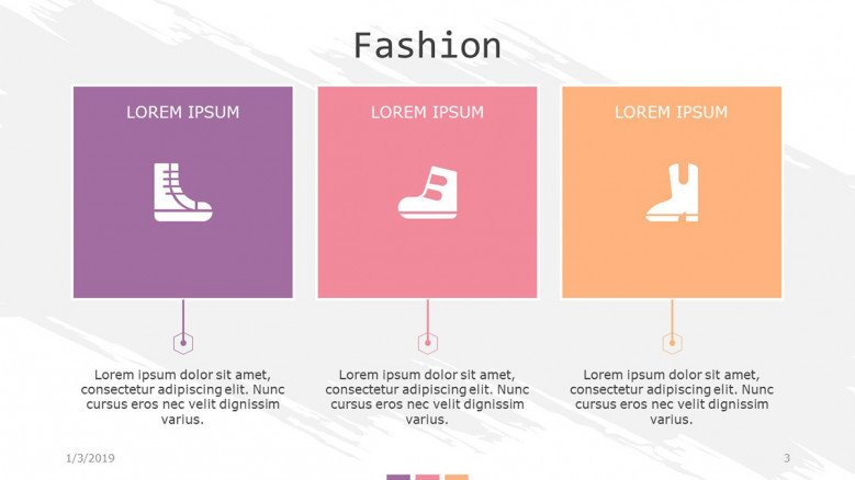 fashion slide in three segment boxes