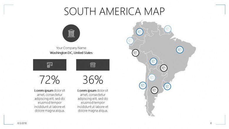 south america map slide with data percentage and text