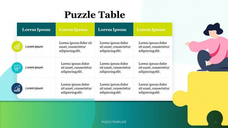 Modern table with icons and a jigsaw puzzle piece illustration