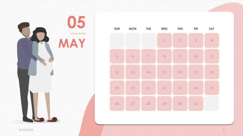 2019 calendar may in creative style with illustration