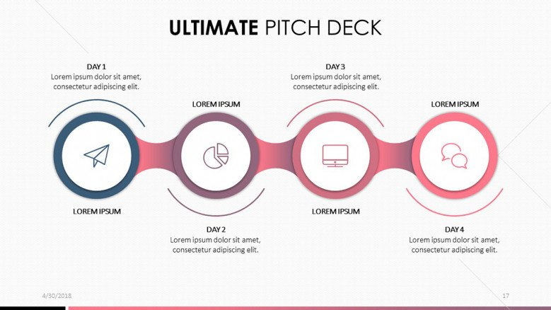 pitch deck in process chart with four steps