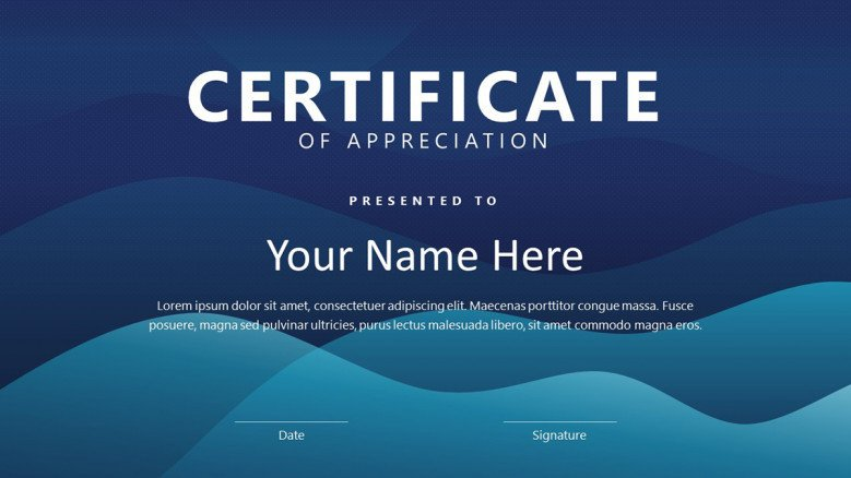 Blue Certificate slide with waves