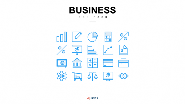 Presentation icons for business use with blue color