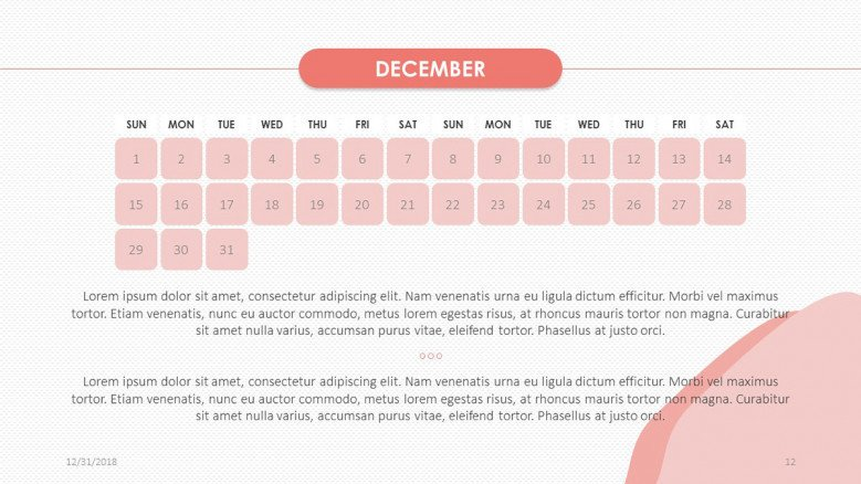 creative December slide in pink with text
