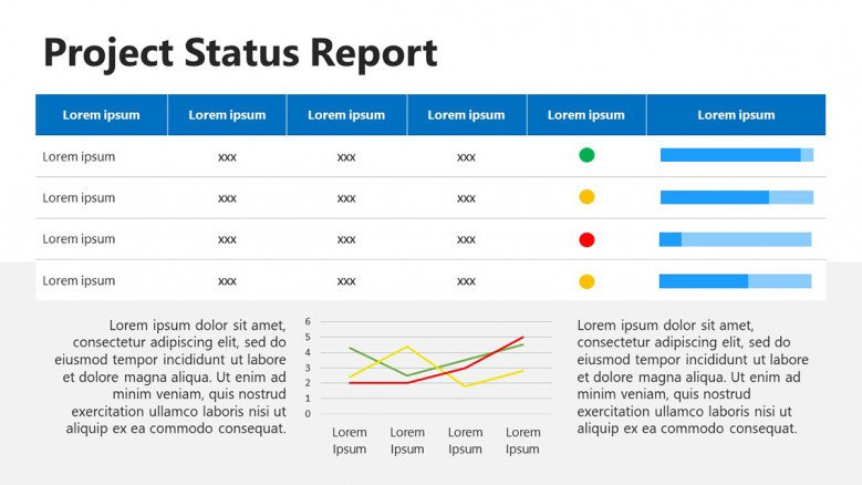 Project Status Report PowerPoint Slide with table and progress bars