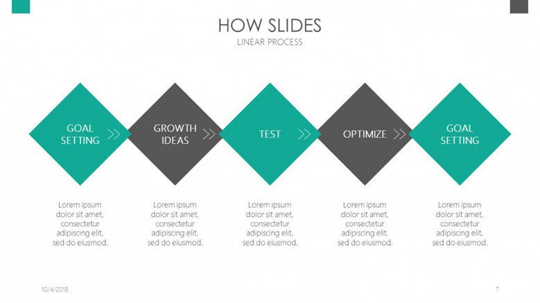 how slides in process chart with five steps