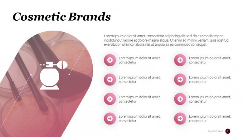 Top Beauty Brands PowerPoint Slide in creative style