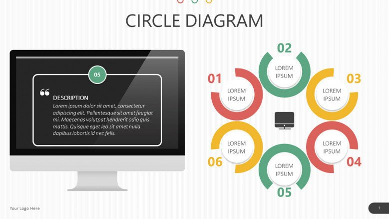 desktop and circle diagram slide