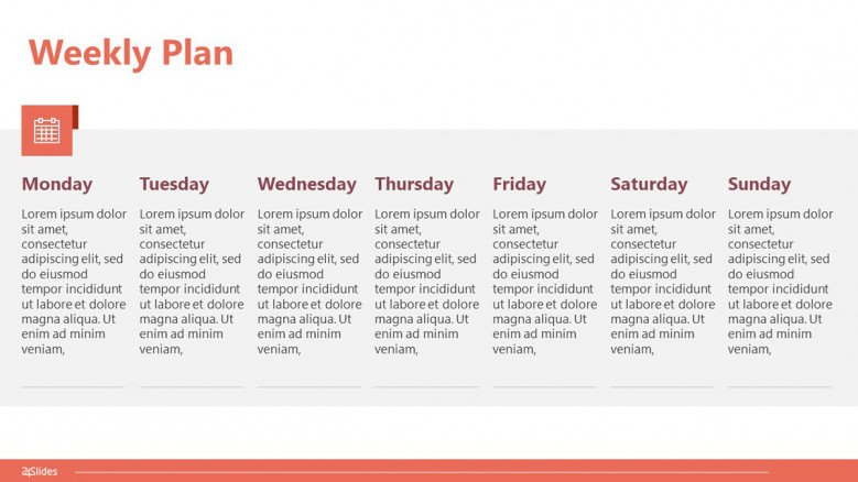7-day weekly plan slide