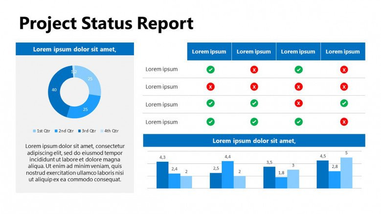 Circle chart for projects status report in PowerPoint