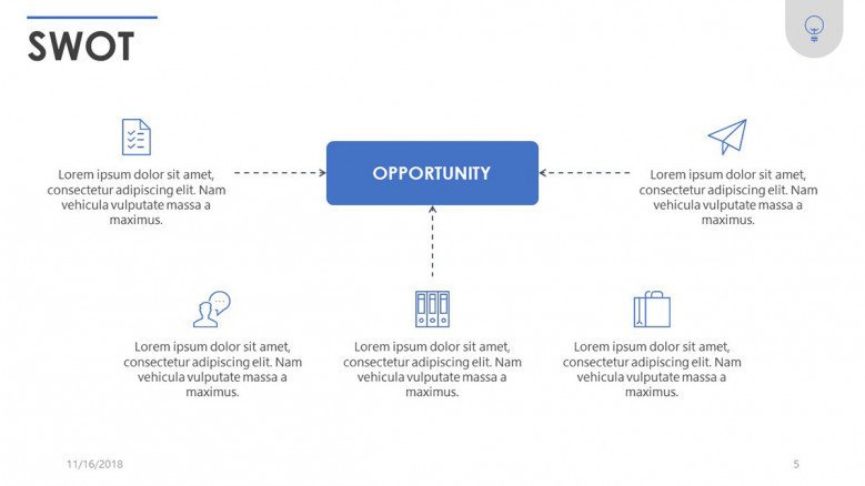 SWOT analysis opportunity slide in five key points with icons and text