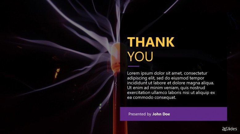 Dark-themed thank you slide for a Physics Presentation