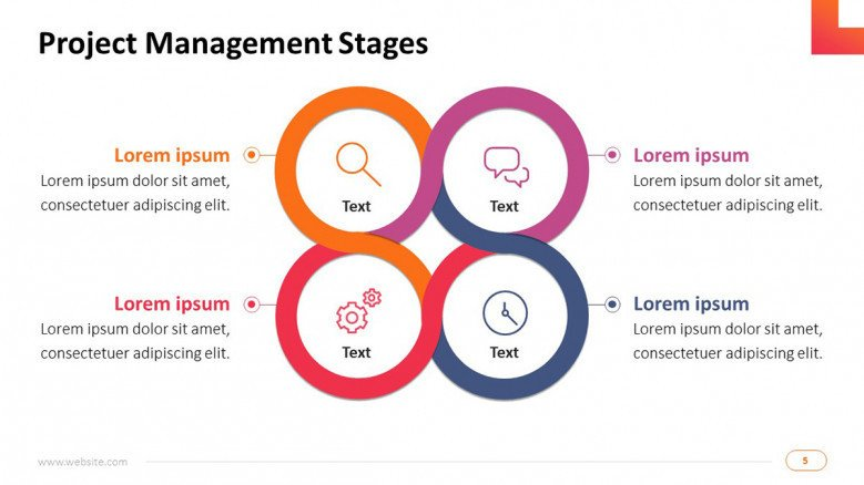 project management on technology infrastructure stages slide in four key steps with icons and text information