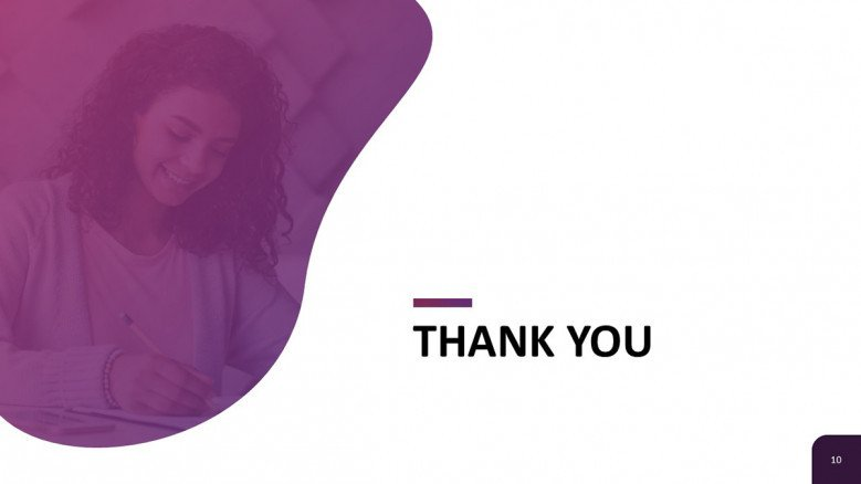 Creative Thank You Slide in purple and white