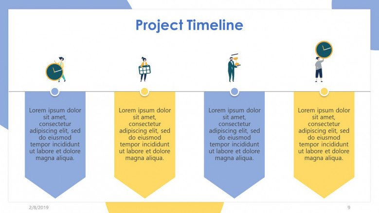 project timeline slide in four description box with illustration