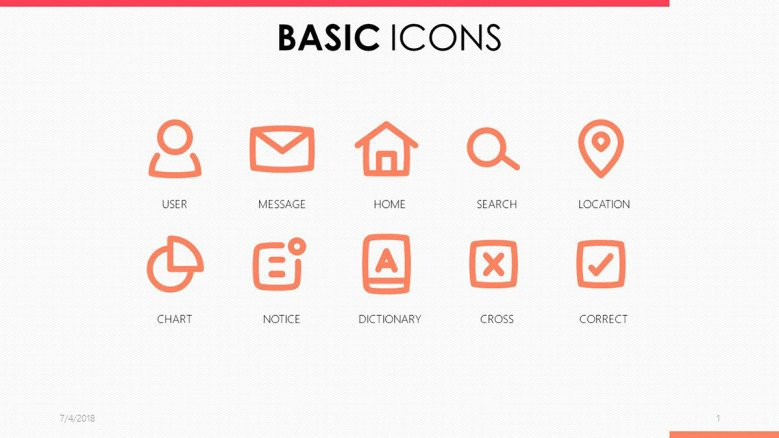 basic icons in pink