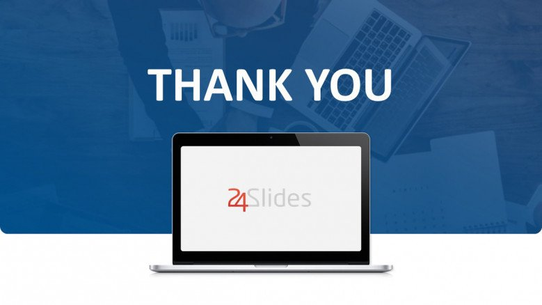 Blue Thank You Slide with a laptop graphic