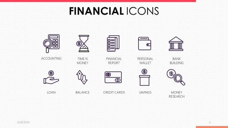 financial icons in black and white