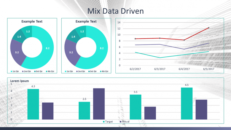 corporate data driven slide deck with pie chart, bar chart, and line chart