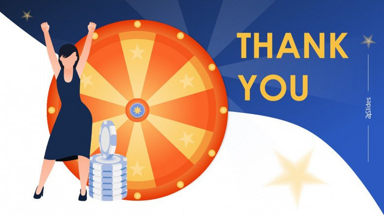 Thank you slide featuring a Playful Wheel of Fortune