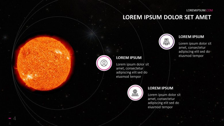 Solar Power System Slide with the image of the Sun and icons