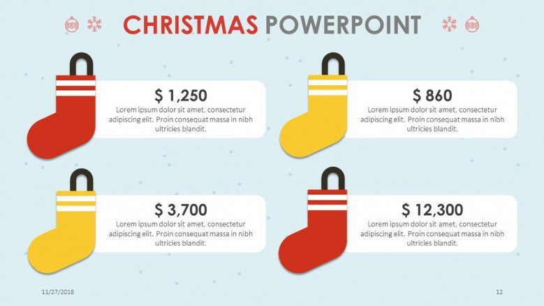 creative christmas theme budget comparison slide with illustration