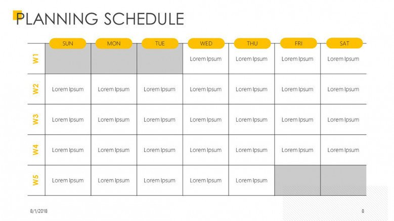 planning schedule presentation slide in weekly calendar
