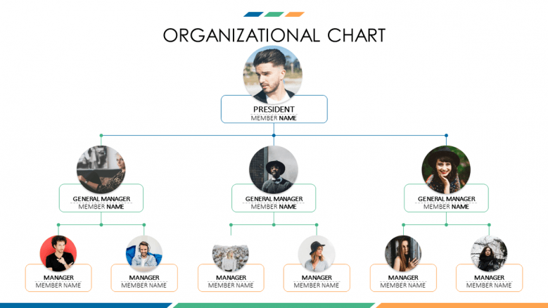 business presentation organizational chart with image