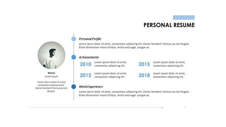 personal resume timeline summary with bullet points