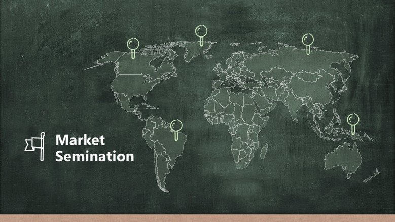 Market Segmentation Slide featuring a global map graphic in a chalkboard