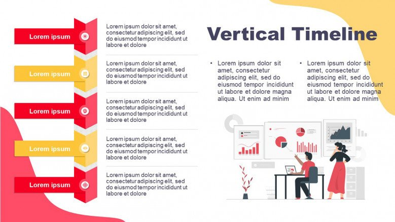 Vertical Project Timeline in red and yellow