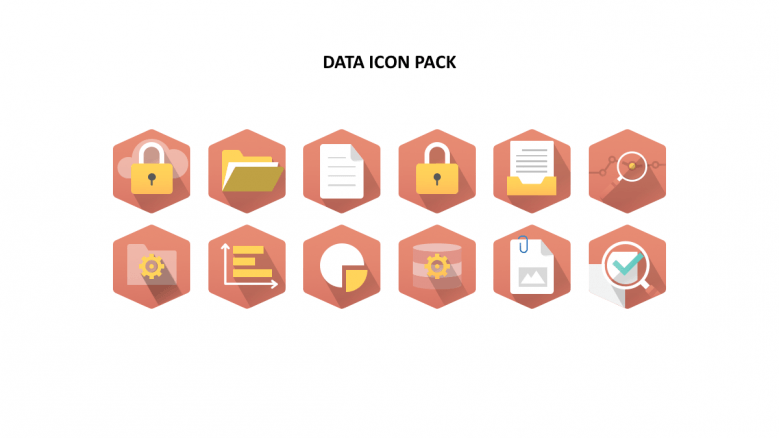 Red diagonal background data icons