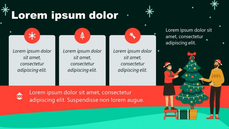 Christmas PowerPoint Background with Christmas illustrations and icons