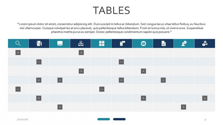 table with symbol slide