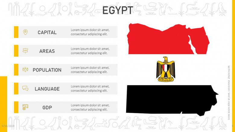 Egypt information with flag image