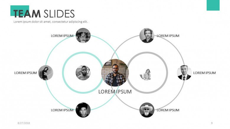 team slide presentation for profile presentation in diagram