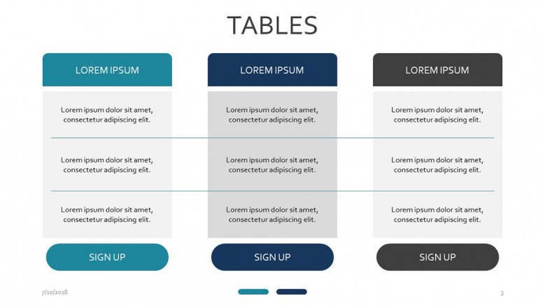 three set subscription table slide with text