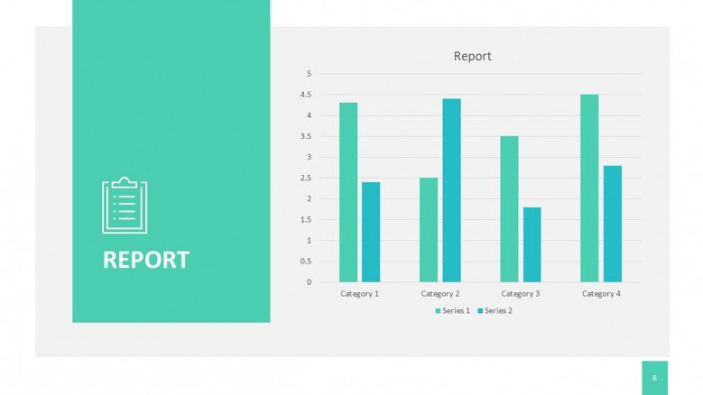 Project Report with four column bar for a project proposal presentation in corporate style