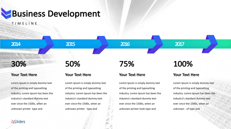 Creative business development slide with four section for texts and comparison